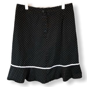 Notation Black White Polka Dot Ruffled Hem Skirt